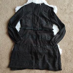 TopShop black embroidered dress fringe NWT